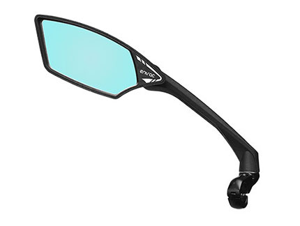 E-bike mirror with anti-glare automobile-grade shatterproof safety lens, foldable around joint, 360-degree adjustable arm, aerodynamic arm, Meachow ME006