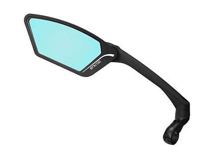 E-bike mirror with anti-glare automobile-grade shatterproof safety lens, foldable around joint, 360-degree adjustable arm, aerodynamic arm , Meachow ME010