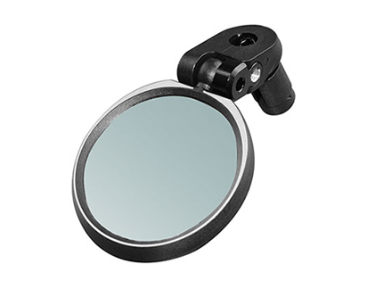 Clear bike mirror with high-definition anti-glare blast-resistant lens, fiber-reinforced Nylon structure, plug to easily fit bar ends of drop bars and flat bars, saving handlebar space for other cycling accessories