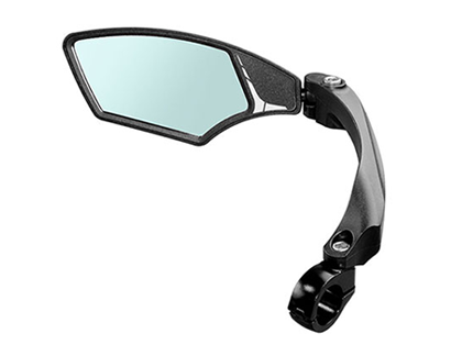 Sharp wide-angle bike mirror with high-definition anti-glare blast-resistant lens, fiber-reinforced Nylon structure, hinged clamp for easy mount on handlebars, Entrac bike mirror